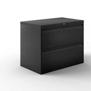 "Calibre 42""W Lateral Files, Two Drawer in Jet Black"