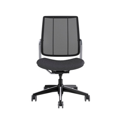 SmartOcean Chair, armless with black frame with Polished Aluminum trim and Fourtis Granite seat upholstery