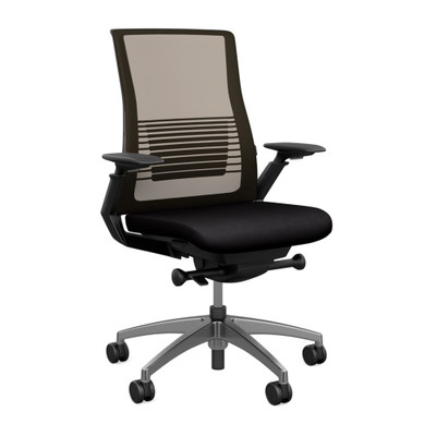 SitOnIt Vectra High Back Mesh Advanced Synchro Task with Nickel Mesh Back and Accent Color, Graphite Frame and Polished Aluminum Base with  Height Adjustable Arms