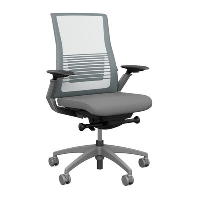 SitOnIt Vectra High Back Mesh Advanced Synchro Task with Platinum Mesh Back , Fog Frame and and Accent Color, Height Adjustable Arms