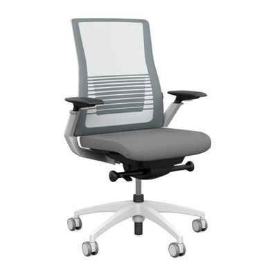 SitOnIt Vectra High Back Mesh Advanced Synchro Task with Platinum Mesh Back, White Frame and and Accent Color, Height Adjustable Arms