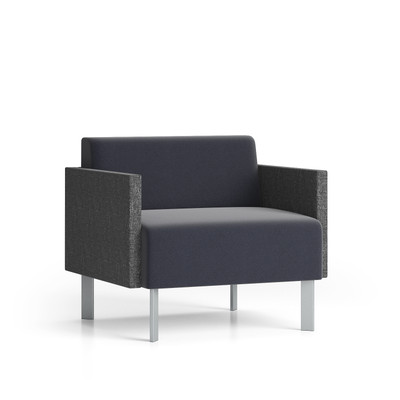 Luxe Heavy Duty Guest Chair with contrasting upholstery and steel legs