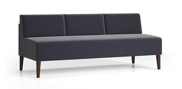 Luxe Heavy Duty Armless Sofa with single upholstery and wood legs