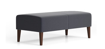 Lesro Luxe 2 Seat Bench with wood legs