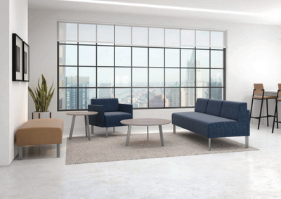 Luxe Series with single upholstery, steel legs, end and  conversational tables