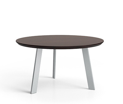 Luxe Series Conversational Table with Silver legs and Graphite Twill laminate top