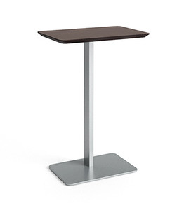 Luxe Series Personal Table with Silver legs and Graphite Twill laminate top