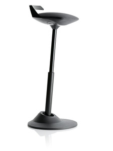 Via Muvman Standing Support Stool in Black Silvertex Vinyl Seat and Black Base