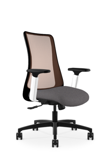 Genie 24/7 Synchro Mesh Back with Black Frame, adjustable height arm in white and natural copper mesh back