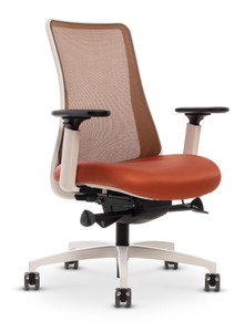 Genie Swivel Tilt Mesh Back with White Frame, adjustable height arm with 4-way pad and natural copper mesh back