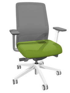Jaku White Frame Task Chair with white frame and base, white adjustable arms with grey pads, 2-tone casters