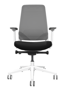 Siya White Frame Task Chair with white frame and base, white adjustable arms with grey pads, 2-tone casters