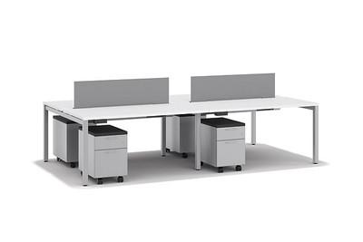 Brilliant White work-surfaces w/ Platinum Metallic legs and pedestals
