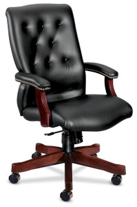 Hon 6541 Traditional Leather Executive High Back Shown in Black SS11 Top Grain Leather Mahogany Frame