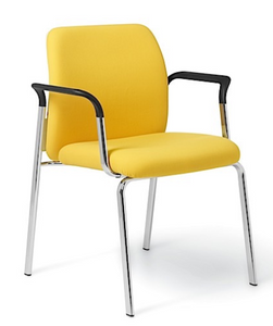 Ginny Stacking Guest with fixed arms and arm pads in black; chrome frame