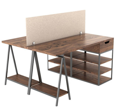 OBEX Desk Mount Eco Acoustical Panels , screwed-in desk mounting in Sand