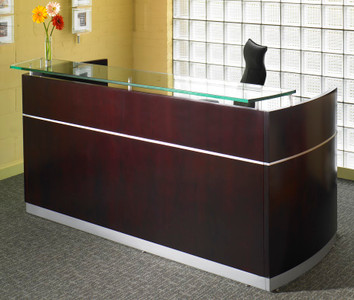 Mayline Napoli Veneer Reception Desk in Mahogany on walnut veneer