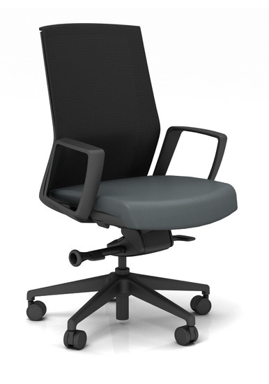 Zilo Black Frame Conference Task Chair, leather seat and loop arms