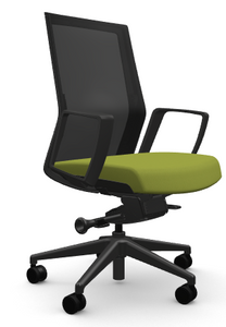 Zilo Black Frame Conference Task Chair, Wasabi fabric seat and loop arms, black base