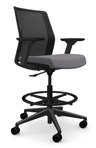 Zilo Black Frame Stool, Stone seat, adjustable arms with black base and footring