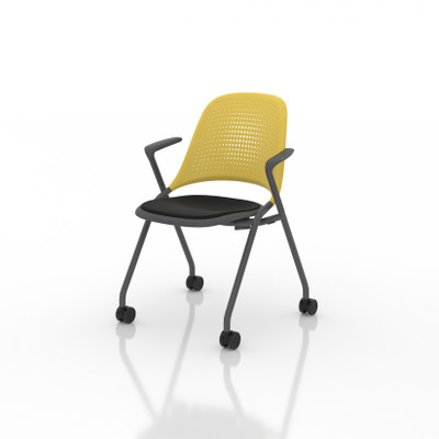 Bixby Nester with Upholstered Seat with optional casters and contrasting seat and back colors