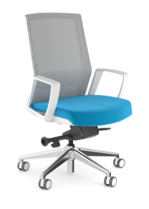 Zilo Grey Frame Conference Task Chair, leather seat and loop arms