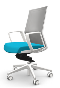 Zilo Grey Frame Conference Task Chair, Sky seat fabric and loop arms, grey base