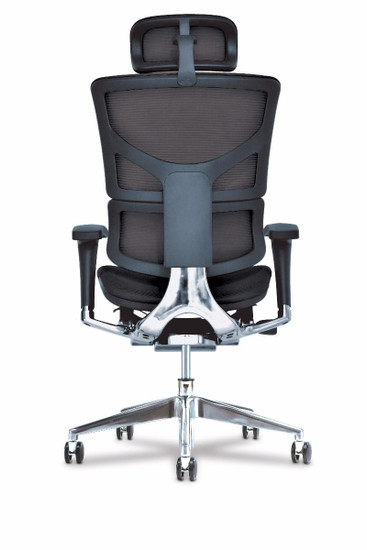 X3 Management Task Chair Plus with extra wide seat, black rear, with headrest