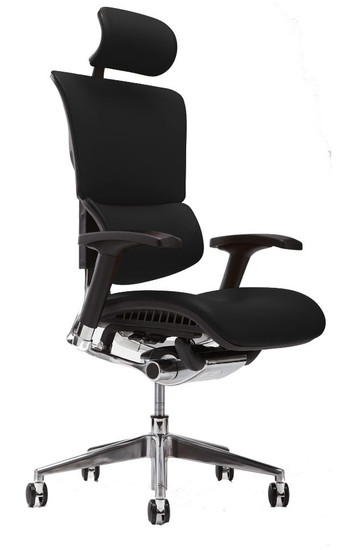 X4 Leather Executive Task Plus with Headrest, Top Grain Black Leather
