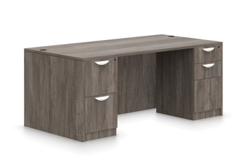 """Offices To Go SL-Q 71"""" Double Pedestal Desk in Artisan Grey"""