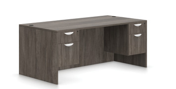 """Offices To Go Double Pedestal 66"""" Desk in Artisan Grey"""