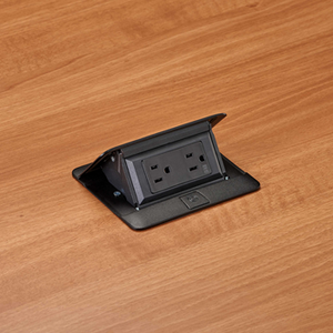 Legrand DEQUORUM™Flip Up Table Box, DQFP15 with 1 duplex power outlet, black