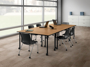 Fixed Top Huddle Conference Table with Rectangular Ends, Harvest