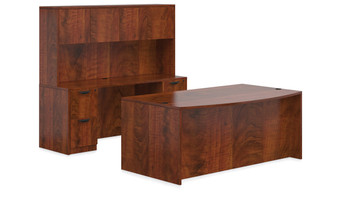 Offices To Go SL-I Executive Bow Front Desk Suite  in American Dark Cherry