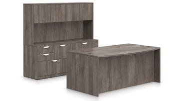 Offices To Go SL-J Executive Bow Front Desk Suite in Artisan Grey