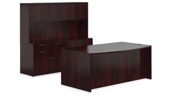 Offices To Go SL-J Executive Bow Front Desk Suite in American Dark Cherry ADC