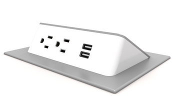 Ashley Duo Wedge Power Module, white plastic and silver trim