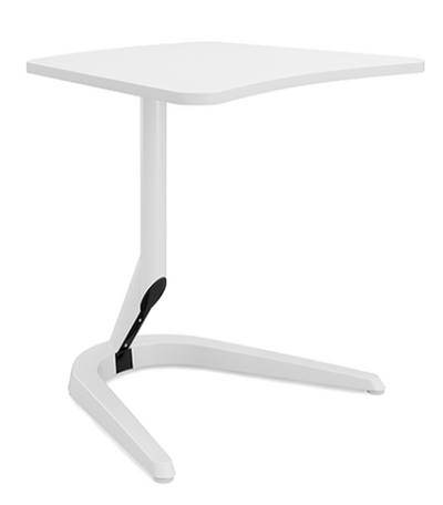"""Motific 26"""" Mobile Tech Table, white amorphic top, white base and column"""
