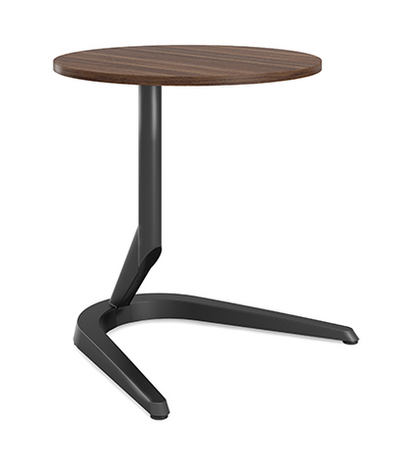 """Motific 24""""Mobile Tech Table, walnut round top, black base and column"""