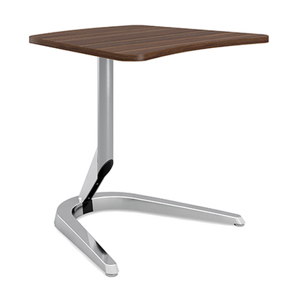 """Motific 24""""Mobile Tech Table, walnut amorphic top, silver base and polished aluminum column"""