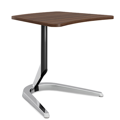 """Motific 24""""Mobile Tech Table, walnut amorphic top, silver base and black column"""