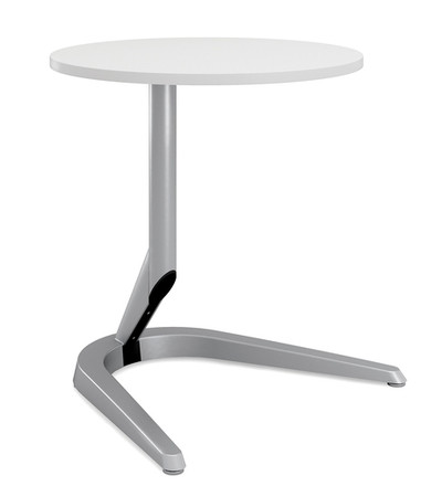 """Motific 24""""Mobile Tech Table, white round top, silver base and column *ships in 48 hours"""