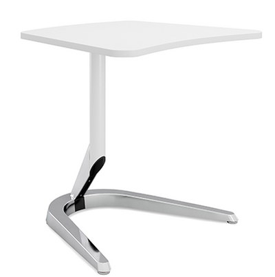 """Motific 24""""Mobile Tech Table, white amorphic top, silver base and white column"""