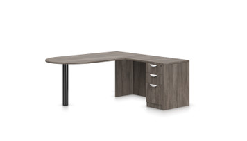 """Offices To Go SL-K 71"""" Personal Peninsula Desk in Artisan Grey"""