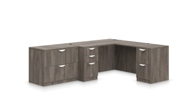 """Offices To Go SL-N 66"""" L Desk Suite in Artisan Grey"""