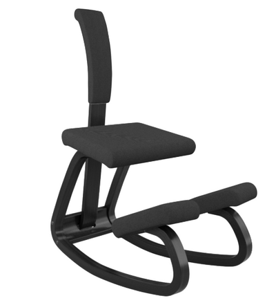 Varier balans Kneeling Chair Black Frame Revive Black fabric, with optional back *8-12 weeks ship time!