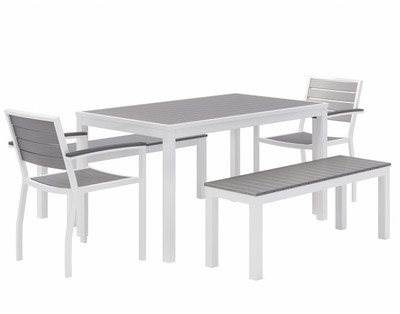 Eveleen Aluminum Frame Rectangular Table and chairs