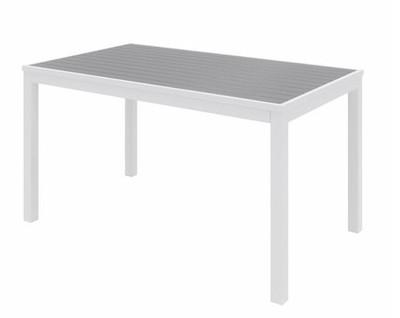 Eveleen Aluminum Frame Rectangular Table, Grey top and white frame