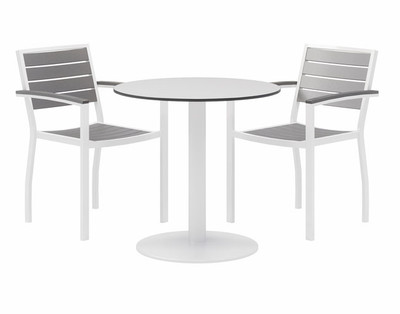 "30"" Eveleen Aluminum Cafe Height Bistro Table, white top and white base"