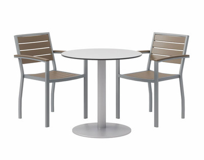 "30"" Eveleen Aluminum Cafe Height Bistro Table, grey top and silver base"